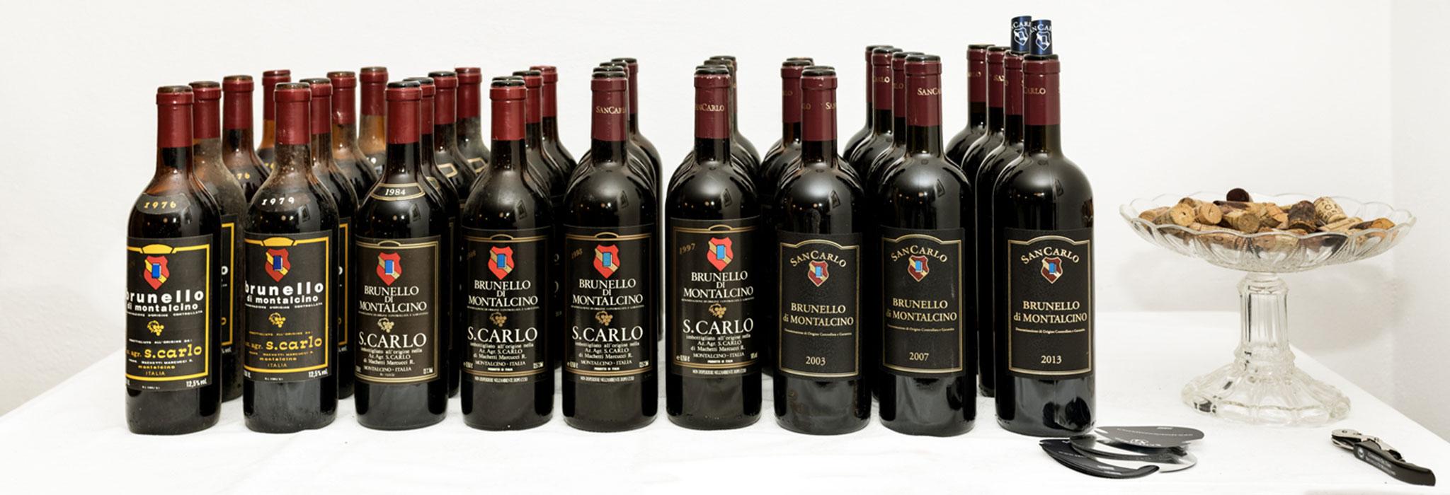 Degustazione Verticale di Brunello di Montalcino DOCG SanCarlo - Bottiglie dalla collezione di famiglia