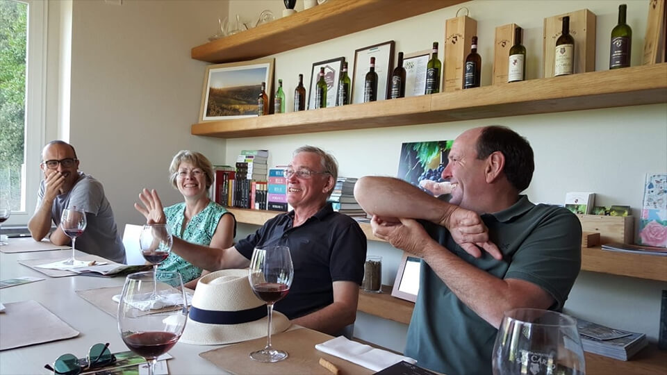"""Lucky to see the vendemmia!"", Steve and Alison from UK with their old college friends, September 2019"